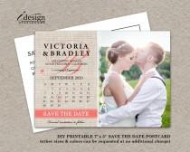 wedding photo - Calendar Wedding Photo Save The Date Postcard, DIY Printable Rustic Burlap And Lace Save The Dates With Coral Monogram