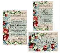 wedding photo - Wedding Invitation Printable Suite - Music Score Vintage Paper with Vintage Lace And Flower Overlay - Instant Digital Download