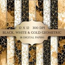 wedding photo - Gold Geometric Digital Paper - black white gold glitter triangles sparkle polygonal printable backgrounds for scrapbooking invitations cards