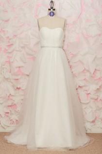 wedding photo - Mila - Wedding Gown, Soft Ivory, Sweetheart Neckline, Ruched Bodice
