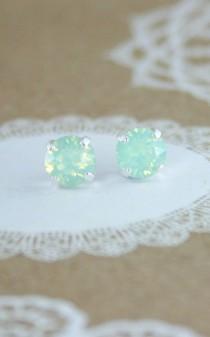 wedding photo - Mint Earrings,mint Stud Earrings,stud Earrings,green Crystal Earrings,swarovski Earrings,swarovski Stud Earrings,mint Wedding Jewelry,mint