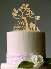 wedding photo - Happy 50 th anniversary cake topper,Wedding Couple in a Swing with Cat or dog,Unique Rustic Wedding Cake Topper,Funny Wedding Cake topper