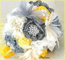wedding photo - Brooch Bouquet, Ivory, Yellow, Silver, Gray, Pewter, Grey, Vintage Wedding, Elegant, Bridal, Jeweled, Feathers, Lace, Crystals, Pearls