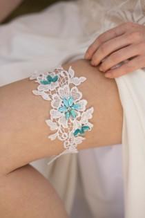 wedding photo - Blue Wedding Garter, White Bridal Garter, Lace Garter Belt, Something Blue Garter, Rustic Wedding Garter,  Lace Wedding Garter, Blue Garter