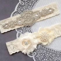 wedding photo - Wedding Garter Belt Set Bridal Garter Set Ivory Lace Garter Belt Lace Garter Set Rhinestone Crystal Pearl Center Garter GR137LX