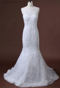 wedding photo - Lace Applique Mermaid Wedding Dress Open Lace Back