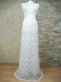 wedding photo - Exclusive white lace wedding dress, wedding dress made from vintage knotted filet lace, boho wedding dress
