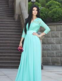 wedding photo - Bridesmaid Dress.Mint Lace Dress.Evening Gown Formal Party.