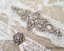 wedding photo - Light Ivory Lace Garter Set, Lace Wedding Garter set, Rhinestone Garter, Ivory Garter Set, Lace Bridal Garter Set, Personalized Garter