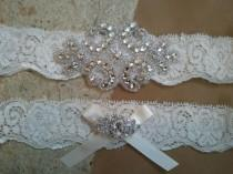 wedding photo - SALE - Wedding Garter, Bridal Garter - Crystal Rhinestone with Ivory Satin Ribbon on a Ivory Lace - Style G2116