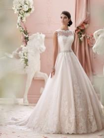 wedding photo - A-line Sheer Sweetheart Appliqued Lace Beaded Belt Backless Wedding Dress