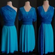 wedding photo - Turquoise Blue Lace Bridesmaids Infinity Dress ...67 Colors... Wedding, Party, Prom, Holiday