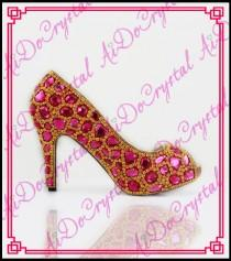 wedding photo - high quality summer new sexy fashion hot India women fuchsia diamond high heels bride wedding pumps Peep toe shoes from Reliable shoes oxford suppliers on Aido Crystal