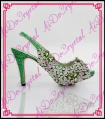 wedding photo - Aidocrystal 2016 fashion peep toe platform glitter rhinestone flower green high heels crystal bridal wedding dress shoes from Reliable dress shoe men suppliers on Aido Crystal