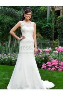 wedding photo - Sheer Lace Neckline Chiffon A-line Bridal Dress By Sincerity 3730
