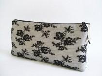 wedding photo - Black Lace Clutch, Wedding Lace Clutch, Black Lace Roses, Romantic Evening Handbag, Modern Goth Clutch