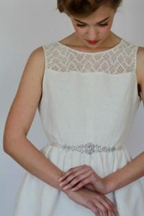 wedding photo - Rhinestone sash, wedding dress belt, Sash, Bridal belt sash, Crystal sash, Rhinestone belt, Crystal belt,Ivory, Thin, Lace