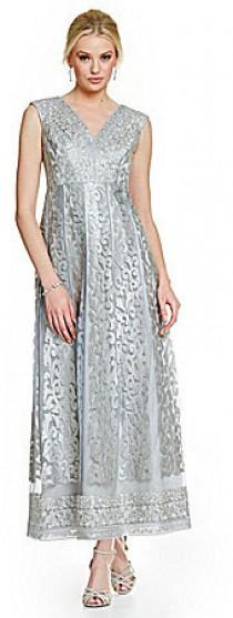 wedding photo - Kay Unger Embroidered Lace Tea Length Gown