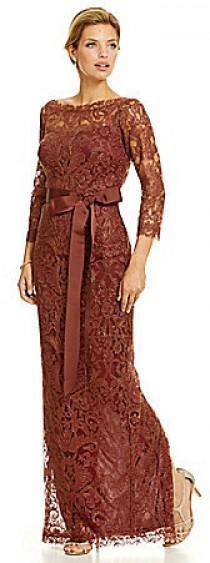 wedding photo - Tadashi Shoji Embroidered Lace Column Gown