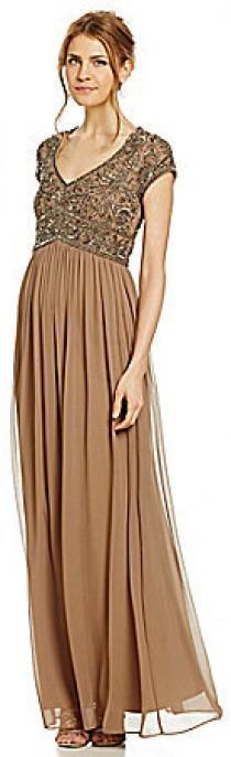 2d4b267f13240 Adrianna Papell Cap-Sleeve Beaded Gown
