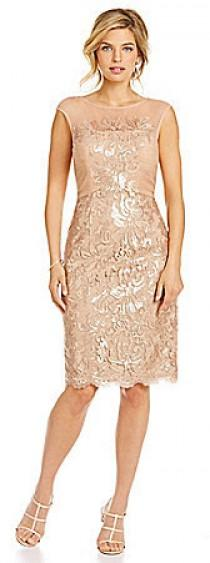 wedding photo - JS Collections Metallic Floral-Lace Cocktail Dress