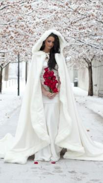 wedding photo - 2015 Amazing White / Ivory Bridal Winter Wedding Cloak Cape Faux Fur Long Custom