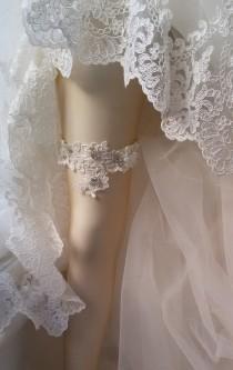 wedding photo - Wedding garter, Wedding Leg Garter, Ribbon Garter, Wedding Accessory, İvory Lace accessories,  Bridal garter