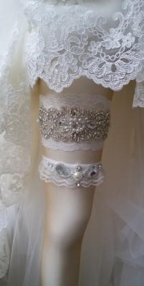 wedding photo - Wedding  Garter Set , Ivory Lace Garter Set, Bridal Leg Garter, Wedding  Accessory, Bridal  Accessory, Rhinestone Crystal Bridal Garter