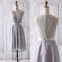 wedding photo - 2016 Grey Bridesmaid Dress, Short V Neck Lace Wedding Dress, Lace Back Formal Dress, Gray A Line Prom Dress, Cocktail Dress Knee (Z081)
