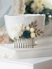 wedding photo - White Ivory Navy Blue Rose Flower Hair Comb  Blue and White Floral Collage Hair Comb Wedding Bridal Hair Comb Romantic Country Chic Comb