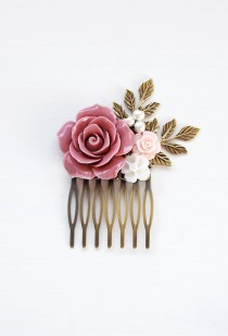 wedding photo - Dusty Pink Wedding Hair Comb Powder Pink Bridal Hair Comb Bridesmaids Hair Accessory Flower Girl Gift Pink Rose Hair Comb French Country
