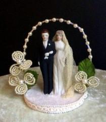 "wedding photo - Vintage Old Store Stock Wedding Couple ""ivory"" Topper"