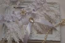 wedding photo - Wedding Garter Set Lingerie Garters Bridal Garters Weddings Garter White Venice Wedding Lace Garter Bridal Garter with Crystals Pearl Lace