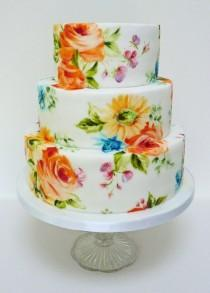 wedding photo - Bright sunny Painted Wedding Cakes