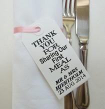 wedding photo - 90 Wedding Napkin Holders-Wedding Table Decor-Elegant WhiteTags-Personalized-Thank You for Sharing Our First Meal-Unique Wedding Favors