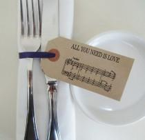 wedding photo - Wedding Napkin Holders-Rustic Wedding Table Decor-Vintage Style Tags with Ribbon-BEATLES MUSIC-Unique Wedding Favors-Wedding-Various Sets