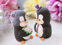 wedding photo - Bride and groom wedding cake toppers - personalized Penguins