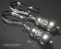 wedding photo - Light Grey Pearl Silver Earrings Swarovski Grey Pearl Dangle Earrings Light Gray Pearl Hypoallergenic Earrings Wedding Pearl Jewelry