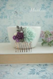 wedding photo - Mint Rose, Dark Purple, Grey, Gray, Ivory Amethyst, Mint Flowers Silver Plated Hair Comb. Bridesmaid Gifts Mint Wedding, Purple, Mint Green
