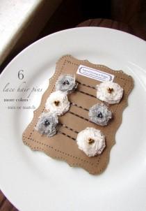 wedding photo - PICK 6 Boho Lace Wedding Hair Flower Accessories, Gray Bridal Floral Hair Pins, Ivory & Grey Bridesmaid Hairpiece, Simple Hair Piece, Girls