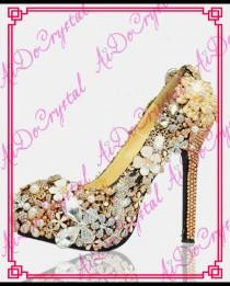 wedding photo - Aidocrystal diamond flower wedding shoes champagne rhinestone high heels crystal platform shoes women pumps large size 42 43 from Reliable shoes pumps heels suppliers on Aido Crystal