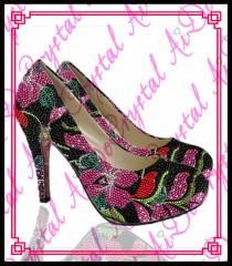 wedding photo - Aidocrystal Large Size 12 13 Women Party Thin High Heels Ladies Crystal Wedding Low Heel Shoes