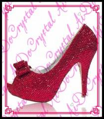 wedding photo - Aidocrystal Shining red crystal upper open toe fashional spring summer sex toe high heel new design ladies' simple shoes