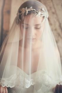 wedding photo - Silk Tulle Veil - Ivory Wedding Veil - Mantilla Veil - Elbow Length Veil - Lace Edged Bridal Veil
