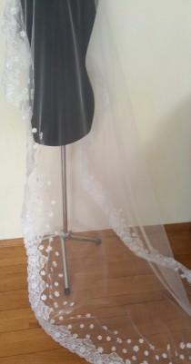 wedding photo - Lace veil, bridal lace veil, wedding lace veil, Mantilla, white veil with flowers