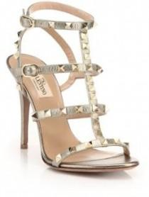 wedding photo - Valentino Rockstud Metallic Leather Gladiator Sandals