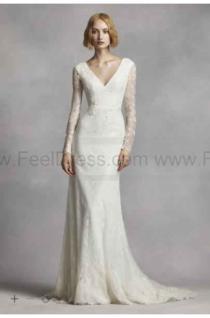 wedding photo - NEW! White by Vera Wang Long Sleeve Lace Wedding Dress VW351270