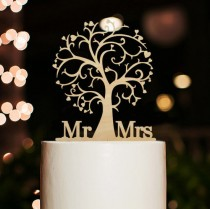 wedding photo - Cherry wood cake topper,tree cake topper,Mr and mrs cake topper,rustic cake topper,wedding cake topper,beach theme cake toppers for wedding