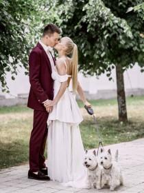 wedding photo - Fashionable White And Marsala Wedding In Lithuania