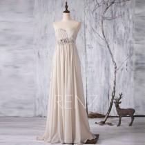 wedding photo - 2016 Light Gray Bridesmaid dress, Grey Long Wedding dress, Strapless Rosette dress, Empire Waist Sweetheart Prom dress floor length (L031)